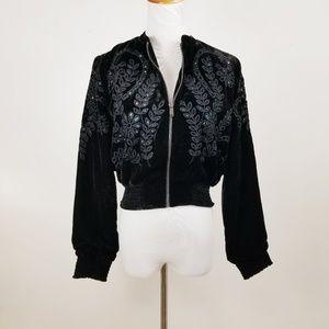 Zara Basic Collection S Velour Velvet Jacket Crop